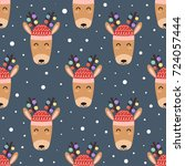 cute deer heads seamless... | Shutterstock .eps vector #724057444