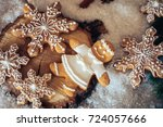 gingerbread cookie with... | Shutterstock . vector #724057666