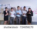 business partners team meeting... | Shutterstock . vector #724058170