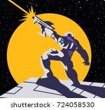 astronaut shooting a gun | Shutterstock .eps vector #724058530
