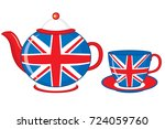vector teapot and teacup... | Shutterstock .eps vector #724059760