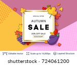 autumn sale background template.... | Shutterstock .eps vector #724061200