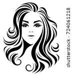 illustration of women long hair ... | Shutterstock .eps vector #724061218