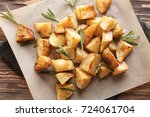 delicious baked potatoes with... | Shutterstock . vector #724061704