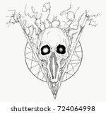 hand drawn abstract skull in... | Shutterstock .eps vector #724064998