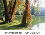 on the shore of lake salzachsee ... | Shutterstock . vector #724068724