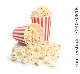 two paper cups and popcorn on... | Shutterstock . vector #724070818