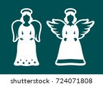 set of christmas carved... | Shutterstock .eps vector #724071808