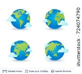 world map set. earth globe with ... | Shutterstock .eps vector #724074790
