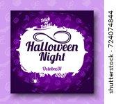 halloween cartoon background.... | Shutterstock .eps vector #724074844