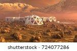 mars planet satellite station...   Shutterstock . vector #724077286