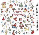 hand drawn doodle christmas... | Shutterstock .eps vector #724078246