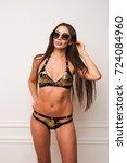 beautiful woman in sequins...   Shutterstock . vector #724084960