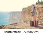 child girl traveler. trip alone.... | Shutterstock . vector #724089994