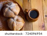 bread of the dead and coffee | Shutterstock . vector #724096954