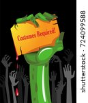 halloween zombie party poster... | Shutterstock .eps vector #724099588