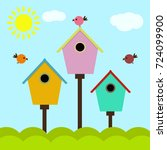 birdhouses with birds colorful... | Shutterstock .eps vector #724099900