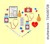 heart form with medicine icons. ...   Shutterstock . vector #724100728