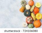 colorful varieties of pumpkins... | Shutterstock . vector #724106080
