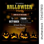 halloween party invitation with ... | Shutterstock .eps vector #724107853
