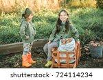 the children on the harvest of... | Shutterstock . vector #724114234