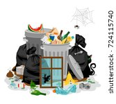 pile of garbage isolated in... | Shutterstock .eps vector #724115740