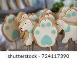 colorful glazed cookies at a... | Shutterstock . vector #724117390