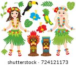 vector hawaiian set includes... | Shutterstock .eps vector #724121173