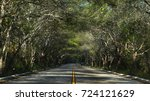 two lanes road with turn in far ... | Shutterstock . vector #724121629