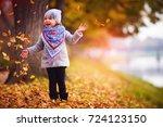 adorable happy baby girl... | Shutterstock . vector #724123150