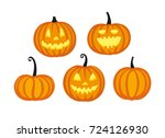 Stock vector cute halloween pumpkins isolated on white background flat style vector illustration 724126930