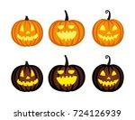 cute halloween pumpkins.... | Shutterstock .eps vector #724126939