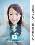 young woman is taking selfie...   Shutterstock . vector #724128508