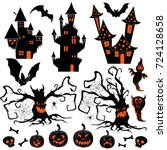 halloween silhouettes set of... | Shutterstock .eps vector #724128658