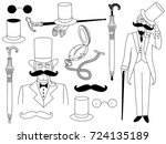 vector black and white... | Shutterstock .eps vector #724135189