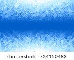 winter blue frost pattern on... | Shutterstock .eps vector #724150483