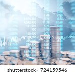 graph coins stock finance and... | Shutterstock . vector #724159546