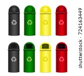 set of recycle bins for trash... | Shutterstock .eps vector #724163449