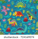 dinosaurs seamless pattern in... | Shutterstock .eps vector #724169074