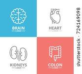 set of brain and heart  kidney  ... | Shutterstock .eps vector #724169098