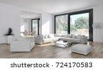 modern bright interiors. 3d... | Shutterstock . vector #724170583