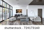 modern bright interiors. 3d...   Shutterstock . vector #724173160
