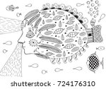 surreal fish submarine in ocean.... | Shutterstock .eps vector #724176310