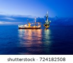 aerial view of tender drilling... | Shutterstock . vector #724182508