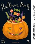happy halloween party poster... | Shutterstock .eps vector #724182934