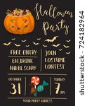 halloween party invitation with ... | Shutterstock .eps vector #724182964