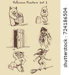 hand drawn monster doodles in... | Shutterstock .eps vector #724186504