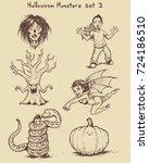 hand drawn monster doodles in... | Shutterstock .eps vector #724186510