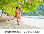 traveler woman in bikini... | Shutterstock . vector #724187230
