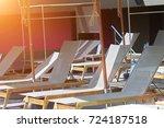 sun bad in swimming pool on... | Shutterstock . vector #724187518